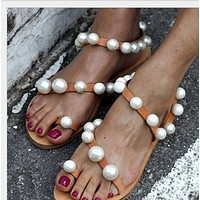 Hot style pearl drill set toe flat sandals shoes