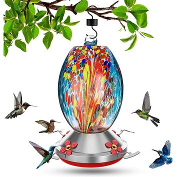 Beautiful Colorful Hand Blown Glass Hummingbird Feeder - Holds 32 oz of Nectar