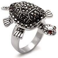 Unique Rings 0W285 Rhodium Brass Ring with Top Grade Crystal