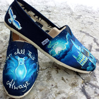 Made to Order Custom Painted TOMS Harry Potter Doe Patronus/Fawkes Shoes