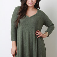 V-Neck Ribbed Knit Shift Dress