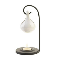 White Tear Drop Oil Warmer with Candle and Oil
