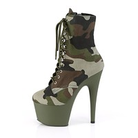 """Adore 1020 Army Green Olive Camo 7"""" Heel Platform Ankle Boots"""