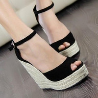 Comfortable Bohemian Wedge Women sandals for Lady shoes and Slipper high wedge open toe flip flops