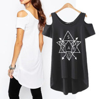 SIMPLE - Popular Fashionable Summer Beach Holiday Cotton Pullover Off Shoulder T-shirt b2427