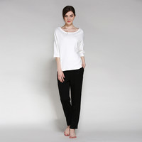 Round-neck Three-quarter Sleeve Casual Home Set Ladies Bottom & Top [4918263172]