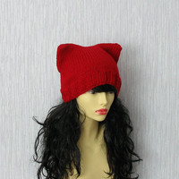 Knit  Hat Cat Ears Hat Cat Beanie beanie hat  Slouch Beanie womens slouchy Cat in RED