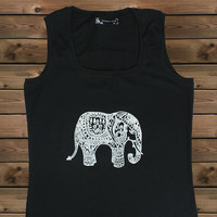 Women's Tank,Elephant on a U Ladies Tank,Screen Printing Tank,Women's Tank,Black Tank,Size S, M, L