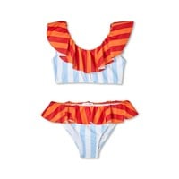 Stella Cove Girls Multi Colored Striped Bikini Swimsuit