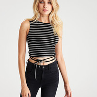 AEO Soft & Sexy Tie Wrap T-Shirt , Black