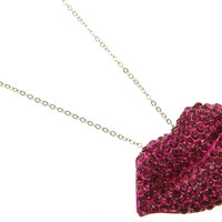 NECKLACE / LIPS / LINK / METAL / CRYSTAL STONE PAVED / EPOXY / 1 INCH DROP / 24 INCH LONG / NICKEL AND LEAD COMPLIANT