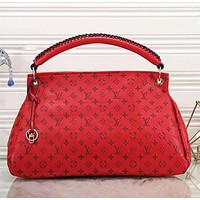 Supergirls22 LV Louis Vuitton Hot Sale Women Fashion Leather Tote Handbag Shoulder Bag Red