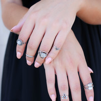 Ocean Water Clear Midi ring set