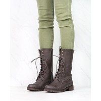 Lace Up Combat Boots in Brown