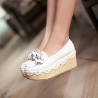 Women Wedges Bow High Heels Platform Shoes 4234