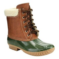 Women's Dylan-3 Two Tone Lace up Faux Sherpa Lined Rain Snow Duck Boot