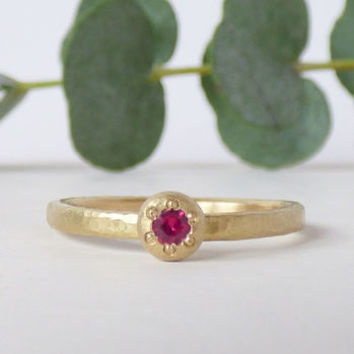 Ruby Caillou Ethical Ring Fairtrade Gold