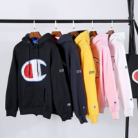 champion large C Print cotton pullovers loose fleece men and women hooded sweater