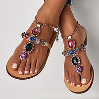 Fashion diamond flat sole sandals, toe sandals, sandals and sandals