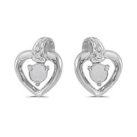 14K White Gold Round Opal and Diamond Heart Shaped Earrings
