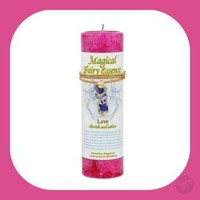 """Love"" Pillar Candle with Fairy Dust Necklace"