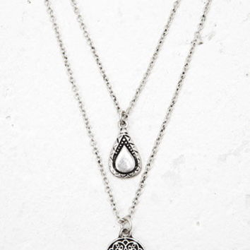Etched Charm Necklace Set
