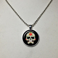 Sugar Skulls Necklace Sugar Skulls Pendant  Skulls Jewelry Glass Cabochon Bezel Pendant Gifts for Her Gifts for Him Ball Chain Included