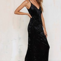 Wicked Game Crushed Velvet Dress - Black
