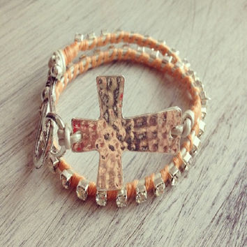 Double Wrap Cross Bracelet
