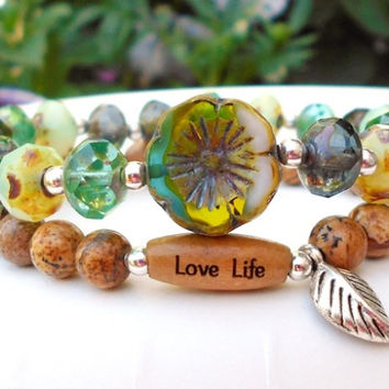 Earthy Bracelet Set - Green and Brown with Leaf Charm
