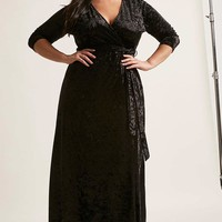 Plus Size Crushed Velvet Maxi Dress
