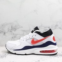 Nike Air Max 93 Og Flame Red White/habanero Red-neutral Indigo-black Running Shoes - Best Deal Online