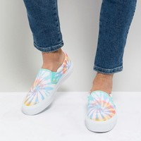 ASOS DESIGN Slip On Sneakers In Tie Dye Print at asos.com