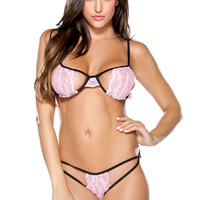 Two Tone Stretch Lace Bra w/ Cutout Panty Set - Pink/Black