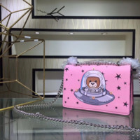 Moschino 2018 autumn and winter spaceship bear bear chain bag Messenger bag shoulder bag pink
