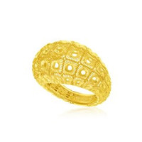 Honeycomb Mesh Design Dome Ring in 14K Yellow Gold