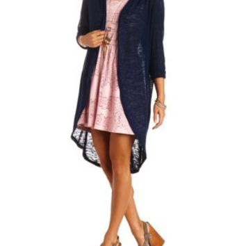 Sheer Slub Knit Cocoon Duster Cardigan by Charlotte Russe - Navy Blue