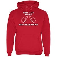 Valentine's Day This Guy Loves His Girlfriend Red Adult Hoodie