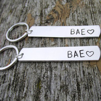 Keychains for Couples, BAE, Before Anyone Else, Hand Stamped Aluminum Key Chains - Christmas in July SALE