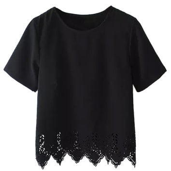 Black Asymmetric Short Sleeve T-Shirt