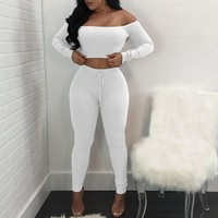 2017 Two Piece Set Women High Elastic Crop Top And Pants Suits Sexy Fitness Stretch Ribbed Outfit Casual Bodycon Pant 2Pcs Set
