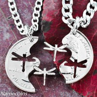 Dragonfly jewelry, Interlocking Necklaces, hand cut coin