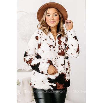 Mooove It On Along Cow Print Sherpa Pullover