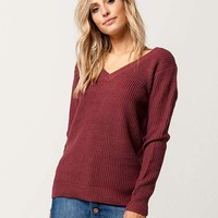 SKY AND SPARROW Grommet Lace Back Womens Sweater | Pullovers