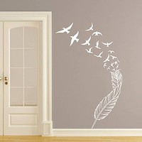 Wall Decal Vinyl Sticker Decals Art Home Decor Murals Feather Birds Nib Style Feather Peacock Living Room Modern Fashion Bedroom Dorm Decals AN138