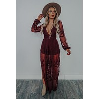 Loved By You Romper: Burgundy