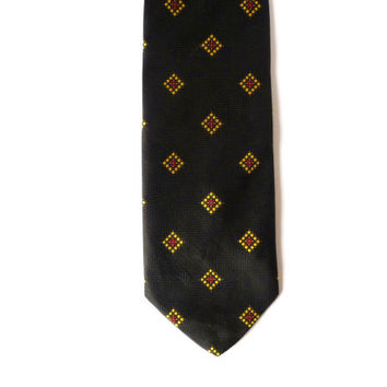 Vintage Men Necktie, Black Tie, Man Accessories, Squares Italian #vintage #necktie #man #men #black #retro #geometric #squares #diamonds