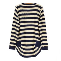A 072921 Loose striped pullover sweater