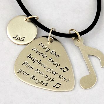 Music Note and Guitar Pick Sterling Silver Necklace Handmade to Inspire your Soul
