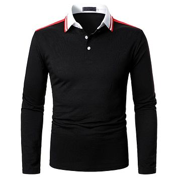 Men's Solid Color Striped Long Sleeve Shirts